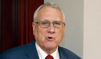 Former Sen. Jon Kyl, R-Ariz., is shown in this file photo from a Sept. 4, 2018 news conference in Phoenix. (AP Photo/Ross D. Franklin) **FILE**