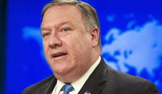 "In this Aug. 16, 2018, file photo, Secretary of State Mike Pompeo speaks at the State Department, in Washington. ompeo says he wants to ""reset"" strained relations with Pakistan when he travels to the South Asian nation on Wednesday and meets with its new prime minister. Pompeo will meet with Prime Minister Imran Khan, a longtime critic of the U.S., and powerful army chief Gen. Qamar Javed Bajwa. (AP Photo/Cliff Owen, file)"