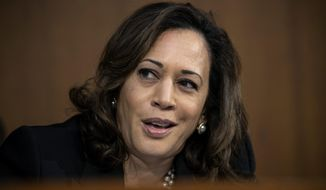 Sen. Kamala Harris, D-Calif., speaks during the confirmation hearing of President Donald Trump's Supreme Court nominee, Brett Kavanaugh, on Capitol Hill in Washington, Tuesday, Sept. 4, 2018. (AP Photo/J. Scott Applewhite)