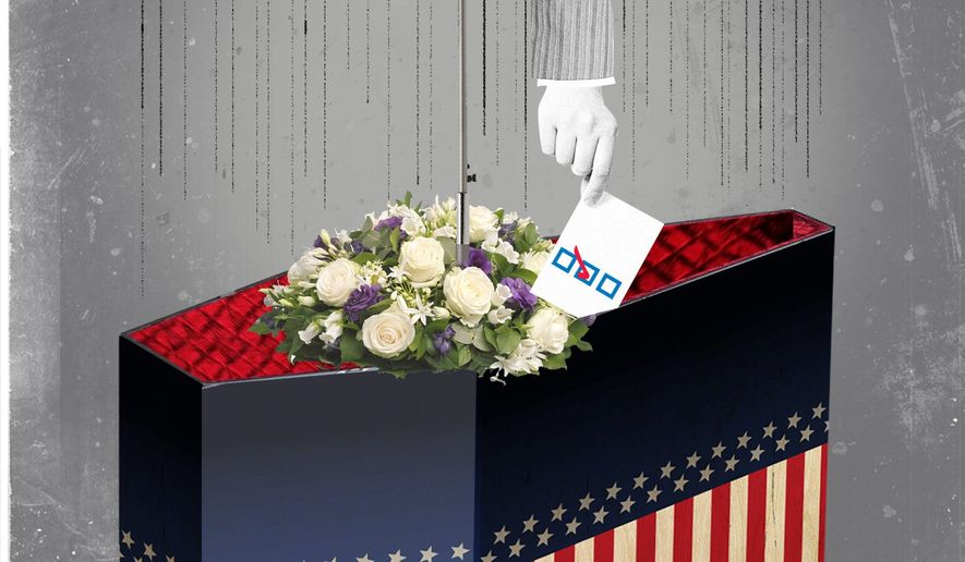 Illustration on politicizing funerals by Linas Garsys/The Washington Times