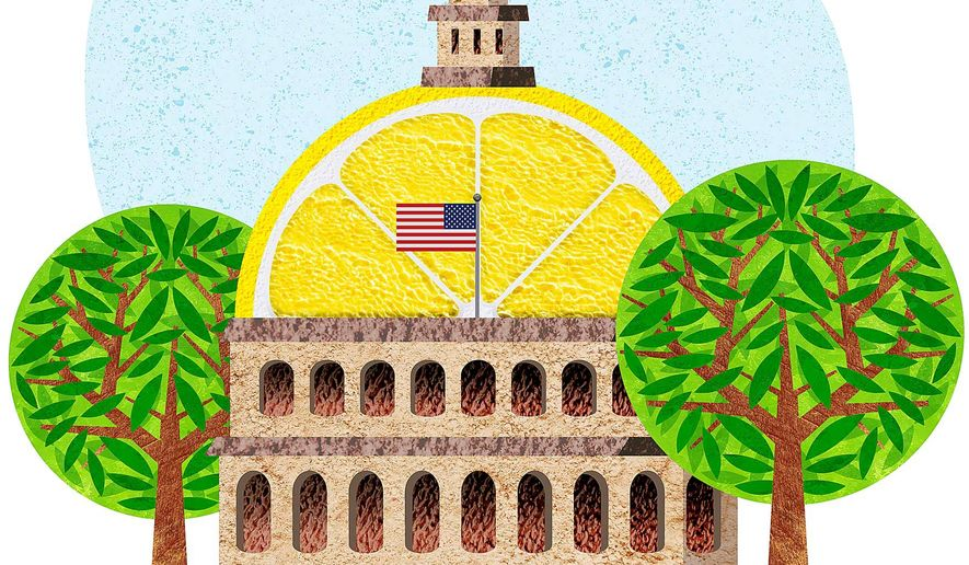 Sour Lemon Capitol Illustration by Greg Groesch/The Washington Times