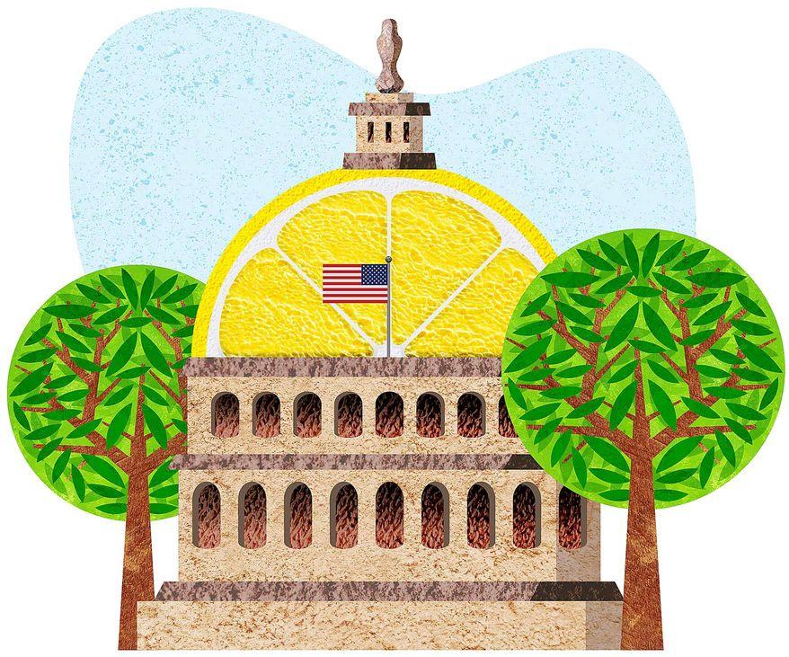 Sour Lemon Capitol Illustration by Greg Groesch/The Washington Times