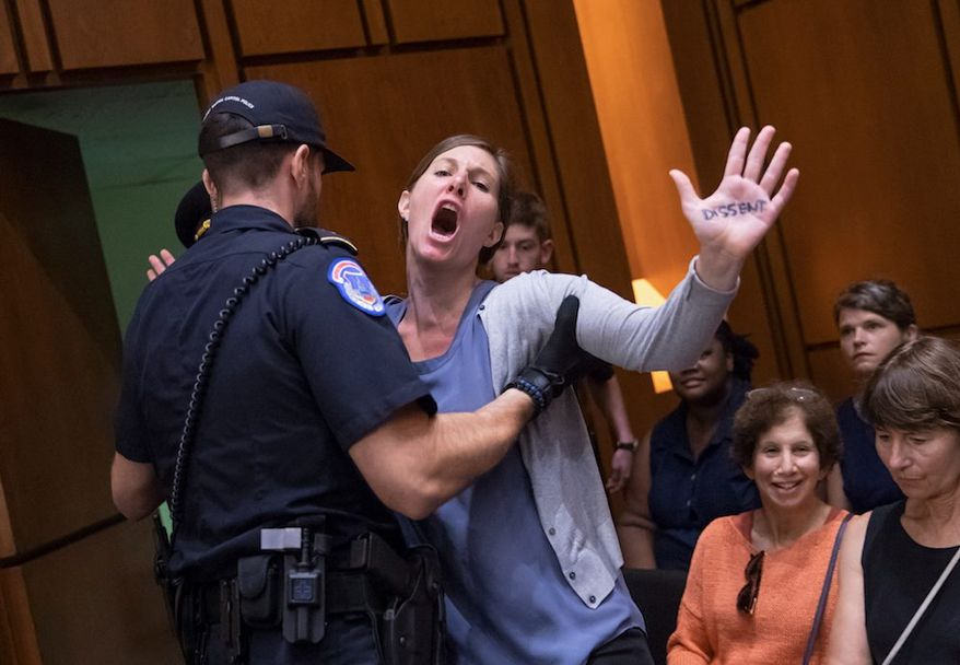 A protester disrupts the second day of Judge Brett M. Kavanaugh's confirmation hearing before the Senate Judiciary Committee. (Associated Press)