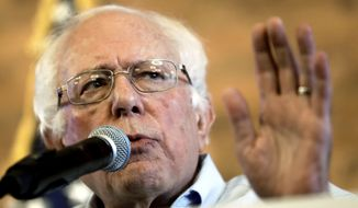 In this Aug. 17, 2018, file photo, U.S. Sen. Bernie Sanders, I-Vt, gestures as he speaks during a campaign stop for Democratic gubernatorial hopeful Andrew Gillum in Tampa, Fla. (AP Photo/Chris O'Meara, File)