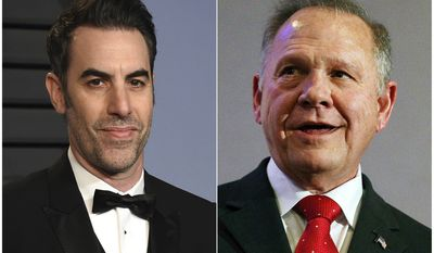 "This combination photo shows Sacha Baron Cohen, left, at the Vanity Fair Oscar Party in Beverly Hills, Calif. on March 4, 2018, and  former Alabama Chief Justice and U.S. Senate candidate Roy Moore at a news conference in Birmingham, Ala., on Nov. 16, 2017. Moore is suing comedian Sacha Baron Cohen for defamation after being pranked on Cohens television show, ""Who is America?"" The lawsuit filed Wednesday in Washington, D.C., accuses Cohen of smearing Moore's name and intentionally inflicting emotional distress. (AP Photo)"