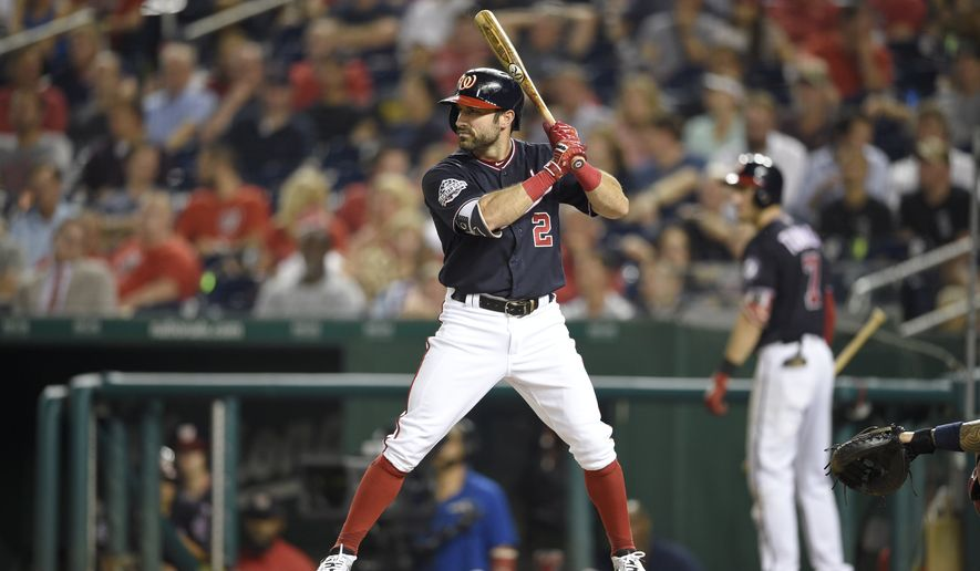 Washington Nationals' Adam Eaton bats during a baseball game against the St. Louis Cardinals, Tuesday, Sept. 4, 2018, in Washington. (AP Photo/Nick Wass)