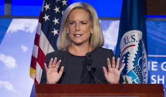 Secretary of Homeland Security Kirstjen Nielsen speaks to George Washington University's Center for Cyber and Homeland Security, in Washington, Wednesday, Sept. 5, 2018. Nielsen lays out her vision for the sprawling department, as midterm elections loom amid persistent threats of hacking and the immigration debate continues to rage. (AP Photo/Cliff Owen)