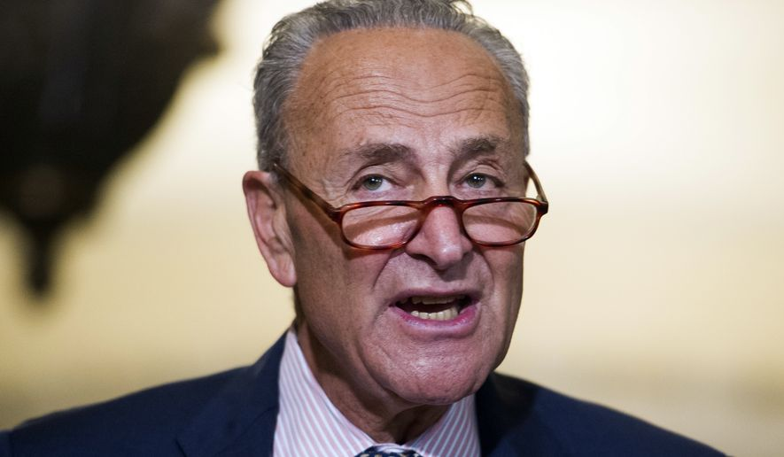 Senate Minority Leader Chuck Schumer of N.Y., speaks with reporters after the Democrats policy luncheon on Capitol Hill, in Washington, Wednesday, Sept. 5, 2018. (AP Photo/Cliff Owen)