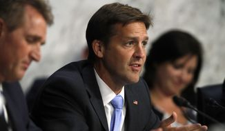 Sen. Ben Sasse, R-Neb., questions President Donald Trump's Supreme Court nominee, Brett Kavanaugh, as he testifies before the Senate Judiciary Committee on Capitol Hill in Washington, Wednesday, Sept. 5, 2018, on the second day of his confirmation hearing to replace retired Justice Anthony Kennedy. (AP Photo/Jacquelyn Martin)