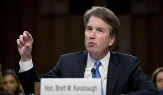 Supreme Court nominee Brett Kavanaugh, a federal appeals court judge, testifies before the Senate Judiciary Committee on Capitol Hill in Washington, Wednesday, Sept. 5, 2018, for the second day of his confirmation to replace retired Justice Anthony Kennedy. (AP Photo/Andrew Harnik)