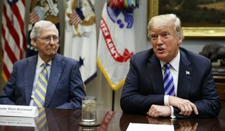 **FILE** Senate Majority Leader Mitch McConnell, R-Ky., listens as President Donald Trump speaks during a meeting with Republican lawmakers in the Roosevelt Room of the White House, Wednesday, Sept. 5, 2018, in Washington. (AP Photo/Evan Vucci)