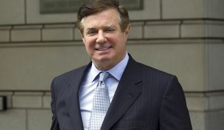 In this May 23, 2018, file photo, Paul Manafort, President Donald Trump's former campaign chairman, leaves the Federal District Court after a hearing, in Washington. (AP Photo/Jose Luis Magana, File)