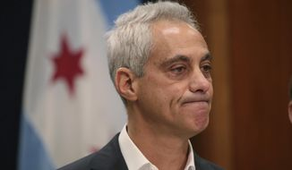 Chicago Mayor Rahm Emanuel announces Tuesday, Sept. 4, 2018, he will not seek a third term in office at a press conference on the 5th floor at City Hall in Chicago. (Stacey Wescott/Chicago Tribune via AP) ** FILE **