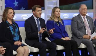 Chris Pappas, second from left, gestures during a debate for Democratic hopefuls in New Hampshire's 1st Congressional District at the Institute of Politics at St. Anselm College in Manchester, N.H., Wednesday, Sept. 5, 2018. From left are Mindi Messmer, Pappas, Naomi Andrews and Lincoln Soldati. (AP Photo/Charles Krupa, Pool)