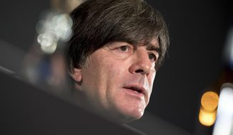 Joachim Loew, head coach of the men's German national soccer team, addresses the media during a press conference in Munich Germany, Sept. 5, 2018. Germany will face the team of France for a UEFA Nations Cup match im Munich on Thursday, Sept. 6, 2018. (Sven Hoppe/dpa via AP)
