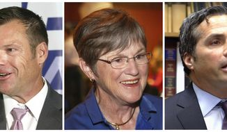 FILE - This combination of file photos shows candidates for Kansas governor, from left to right, Republican Secretary of State Kris Kobach, Democratic state Sen. Laura Kelly and independent candidate Greg Orman, who are scheduled to debate Wednesday, Sept. 5, 2018, in Overland Park, Kan.  (Thad Allton /The Topeka Capital-Journal via AP, File)
