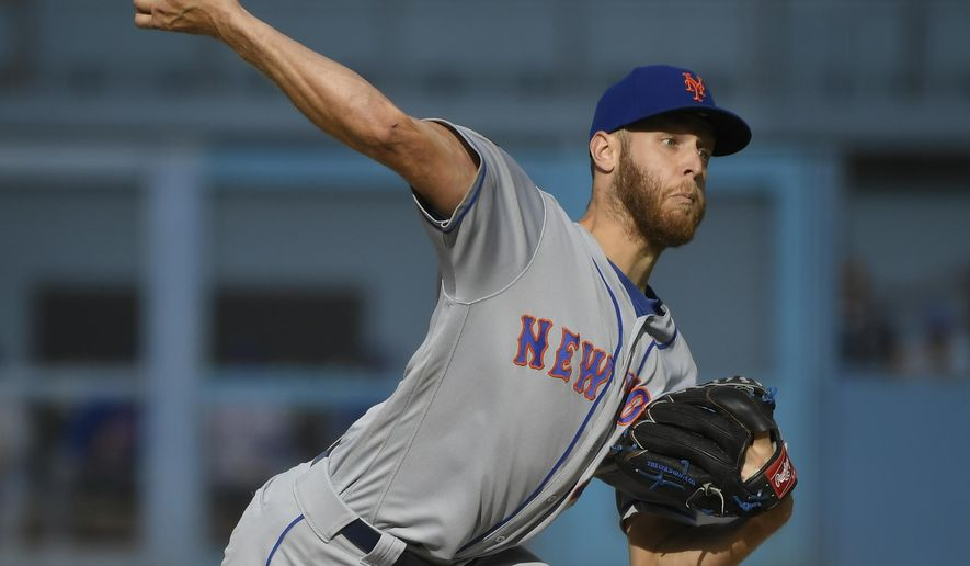 New York Mets starting pitcher Zack Wheeler throws to Los Angeles Dodgers' Joc Pederson during the first inning of a baseball game Wednesday, Sept. 5, 2018, in Los Angeles. (AP Photo/John McCoy)