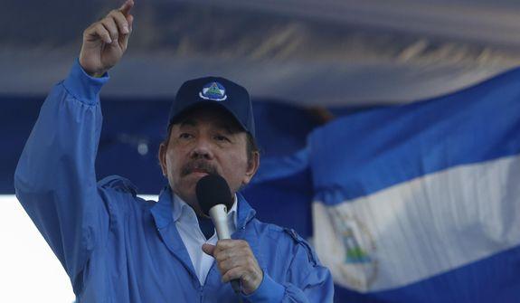 Nicaraguan President Daniel Ortega speaks during a rally in Managua, Nicaragua, Wednesday, Sept. 5, 2018. (AP Photo/Alfredo Zuniga) **FILE**
