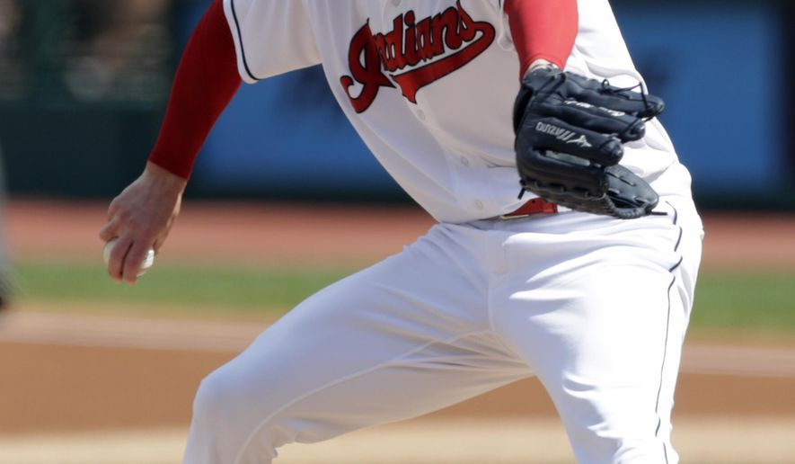 Cleveland Indians starting pitcher Corey Kluber delivers in the first inning of a baseball game against the Kansas City Royals, Wednesday, Sept. 5, 2018, in Cleveland. (AP Photo/Tony Dejak)
