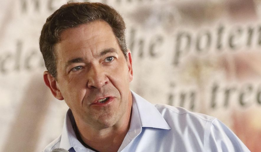In this Aug. 2, 2018 photo, state Sen. Chris McDaniel, R-Ellisville, speaks at the Neshoba County Fair in Philadelphia, Miss. McDaniel, one of three candidates seeking to replace incumbent U.S. Sen. Cindy Hyde-Smith, R-Miss., joins the other two challengers in accepting two debate invitations for a U.S. Senate race. It's unclear if the Republican incumbent Hyde-Smith will take part. Hyde-Smith campaign spokeswoman Melissa Scallan says the senator's participation will depend on the work schedule in Washington. (AP Photo/Rogelio V. Solis)