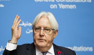 Martin Griffiths, UN Special Envoy for Yemen, addresses the media during a press conference at the European headquarters of the United Nations in Geneva, Switzerland, Wednesday, Sept. 5, 2018 one day before starting the Geneva Consultations on Yemen. (Salvatore Di Nolfi/Keystone via AP)