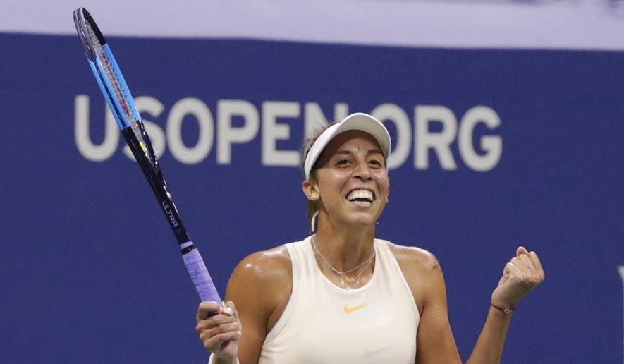 Madison Keys celebrates after defeating Carla Suarez Navarro, of Spain, in the quarterfinals of the U.S. Open tennis tournament, Wednesday, Sept. 5, 2018, in New York. (AP Photo/Frank Franklin II)