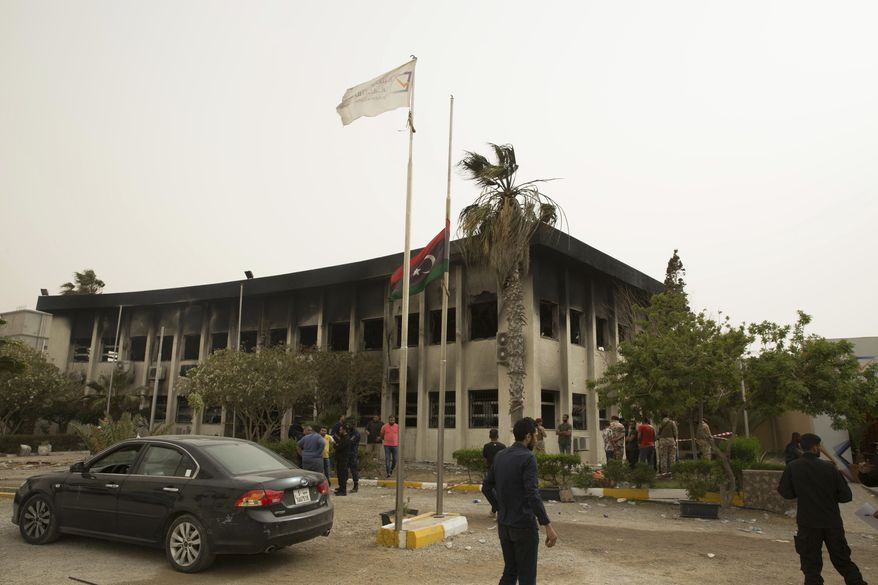 The building of the high national election commission in Tripoli, Libya after a suicide bomb, May 2, 2018.(AP Photo/Mohamed Ben Khalifa)