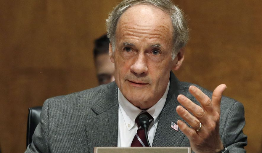 FILE - In this Tuesday, May 15, 2018, file photo, U.S. Sen. Thomas Carper, D-Del., asks a question of Homeland Security Secretary Kirstjen Nielsen as she testifies to the Senate Homeland Security Committee on Capitol Hill in Washington. Carper is defending his voting record during three terms in the Senate against challenger Kerri Lynn Harris, a political newcomer and progressive community activist waging a grassroots campaign to try to unseat him. (AP Photo/Jacquelyn Martin, File)