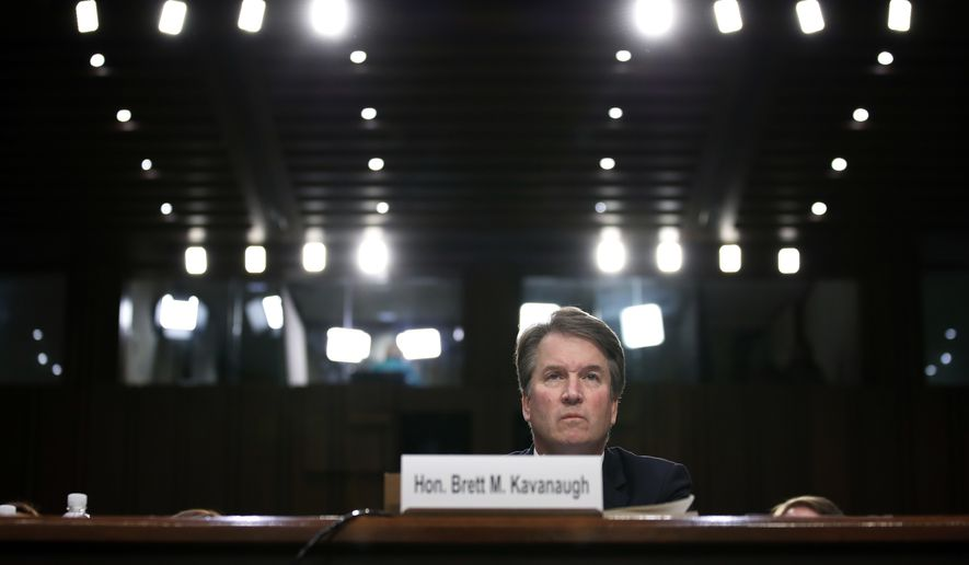 President Donald Trump's Supreme Court nominee, Brett Kavanaugh testifies before the Senate Judiciary Committee on Capitol Hill in Washington, Thursday, Sept. 6, 2018, for the third day of his confirmation to replace retired Justice Anthony Kennedy. (AP Photo/Alex Brandon)