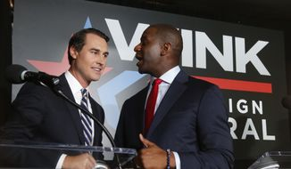 In this July 18, 2018, file photo Orlando businessman Chris King, left, and Tallahassee Mayor Andrew Gillum, talk after participating in a Democratic gubernatorial debate in Fort Myers, Fla. Gillum, the Democratic gubernatorial candidate, picked Chris King to be his running mate, Thursday, Sept. 6, 2018. (AP Photo/Wilfredo Lee, File)