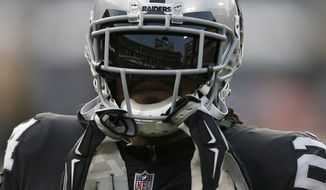Oakland Raiders running back Marshawn Lynch before an NFL preseason football game against the Green Bay Packers in Oakland, Calif., Friday, Aug. 24, 2018. (AP Photo/D. Ross Cameron)