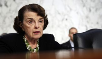 Sen. Dianne Feinstein, D-Calif., the ranking member on the Senate Judiciary Committee, speaks as President Donald Trump's Supreme Court nominee, Brett Kavanaugh testifies before the Senate Judiciary Committee on Capitol Hill in Washington, Thursday, Sept. 6, 2018, for the third day of his confirmation to replace retired Justice Anthony Kennedy. (AP Photo/Alex Brandon)