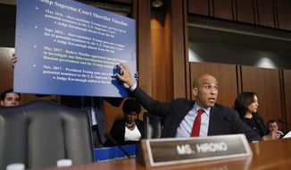 Sen. Cory Booker, D-N.J., gestures as he questions President Donald Trump's Supreme Court nominee, Brett Kavanaugh, foreground, as he testifies before the Senate Judiciary Committee on Capitol Hill in Washington, Thursday, Sept. 6, 2018, for the third day of his confirmation hearing to replace retired Justice Anthony Kennedy. (AP Photo/Alex Brandon)