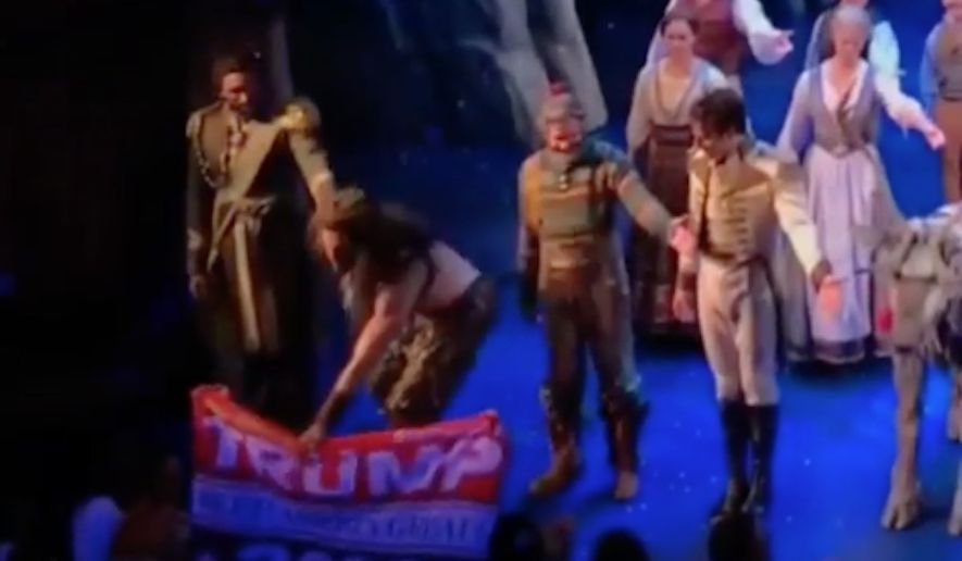 "Timothy Hughes, a ""Frozen on Broadway"" actor, is unapologetic after he snatched a ""Trump 2020"" banner out of an audience member's hands during the curtain call for Wednesday's performance. (Instagram/@timothyrhughes)"