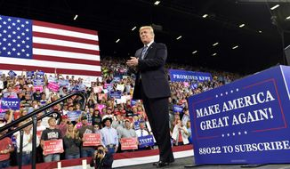 President Donald Trump arrives to speak at a rally in Billings, Mont., Thursday, Sept. 6, 2018. (AP Photo/Susan Walsh)