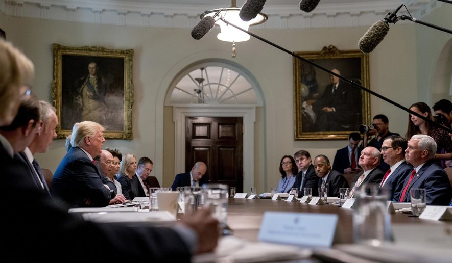 In this Aug. 16, 2018, photo, President Donald Trump speaks during a cabinet meeting in the Cabinet Room of the White House in Washington. (AP Photo/Andrew Harnik) **FILE**