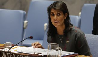 United States U.N. Ambassador Nikki Haley address a U.N. Security meeting on alleged Russian chemical attack in Britain, Thursday, Sept. 6, 2018 at U.N. headquarters. (AP Photo/Bebeto Matthews) ** FILE **