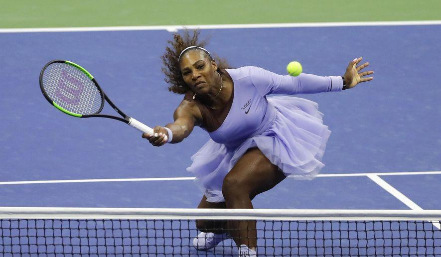Serena Williams returns a shot to Anastasija Sevastova, of Latvia, during the semifinals of the U.S. Open tennis tournament, Thursday, Sept. 6, 2018, in New York. (AP Photo/Frank Franklin II)