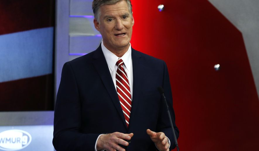 Republican hopeful for New Hampshire's 1st Congressional District Andy Sanborn speaks during a debate at St. Anselm College in Manchester, N.H., Thursday, Sept. 6, 2018, ahead of next week's primary. (AP Photo/Elise Amendola)