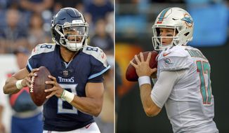 FILE - At left, in an Aug. 18, 2018, file photo, Tennessee Titans quarterback Marcus Mariota plays against the Tampa Bay Buccaneers in the first half of a preseason NFL football game, in Nashville, Tenn.At right, in an Aug. 17, 2018, file photo, Miami Dolphins quarterback Ryan Tannehill warms up before a preseason NFL football game against the Carolina Panthers, in Charlotte, N.C. After missing last season with a knee injury, Ryan Tannehill returns for the Miami Dolphins' season opener against the Tennessee Titans, who hope to embark on another playoff run under new coach Mike Vrabel. (AP Photo/File)