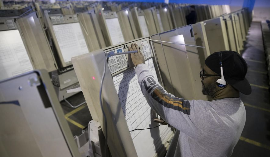 In this Oct. 14, 2016, file photo, a technician works to prepare voting machines to be used in the upcoming presidential election in Philadelphia. (AP Photo/Matt Rourke, File)
