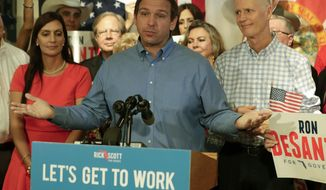Republican candidate for Florida Governor Ron DeSantis speaks to supporters as his lieutenant governor candidate state Rep. Jeanette Nunez, left, and Gov. Rick Scott, right, listen during a rally Thursday, Sept. 6, 2018, in Orlando, Fla. (AP Photo/John Raoux)