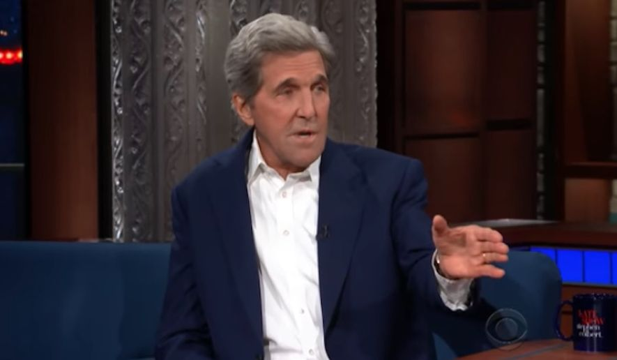 "Former Secretary of State John Kerry responded Wednesday night to the explosive New York Times op-ed alleging a ""quiet resistance"" inside the Trump administration actively working to thwart the president's agenda. ""It scares the hell out of me,"" Mr. Kerry told comedian Stephen Colbert on ""The Late Show."" (CBS)"