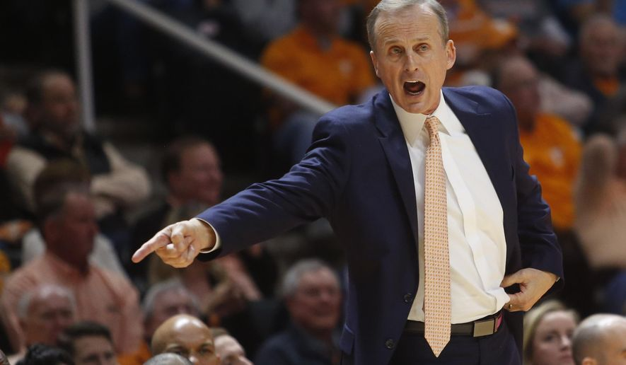 FILE - In this March 3, 2018, file photo, Tennessee head coach Rick Barnes reacts to a call in an NCAA college basketball game against Georgia in Knoxville, Tenn. Tennessee announced a contract extension and raise for Barnes, Thursday, Sept. 6, 2018. (AP Photo/Crystal LoGiudice, File)