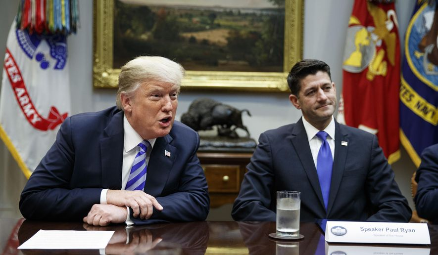 Speaker of the House Rep. Paul Ryan, R-Wis., listens to President Donald Trump speak during a meeting with Republican lawmakers in the Roosevelt Room of the White House, Wednesday, Sept. 5, 2018, in Washington. (AP Photo/Evan Vucci)