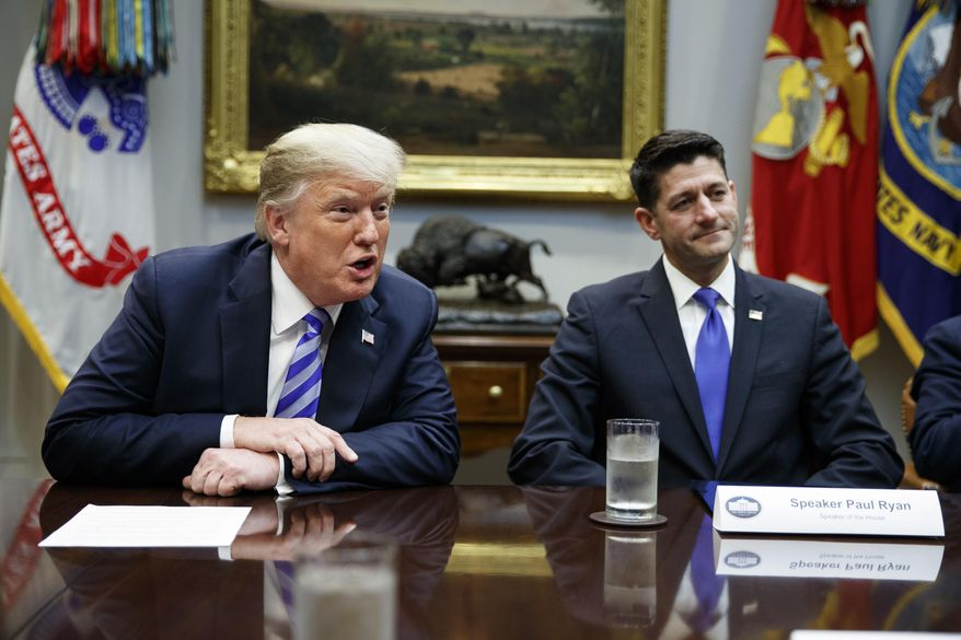 Speaker of the House Rep. Paul Ryan, R-Wis., listens to President Donald Trump speak during a meeting with Republican lawmakers in the Roosevelt Room of the White House, Wednesday, Sept. 5, 2018, in Washington. (AP Photo/Evan Vucci) ** FILE **