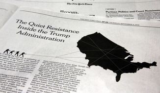 "This photo shows an anonymous opinion piece in The New York Times in New York, Thursday, Sept. 6, 2018. President Donald Trump lashed out against the anonymous senior official who wrote it, claiming to be part of a ""resistance"" working ""from within"" to thwart the commander-in-chief's most dangerous impulses. (AP Photo/Richard Drew)"
