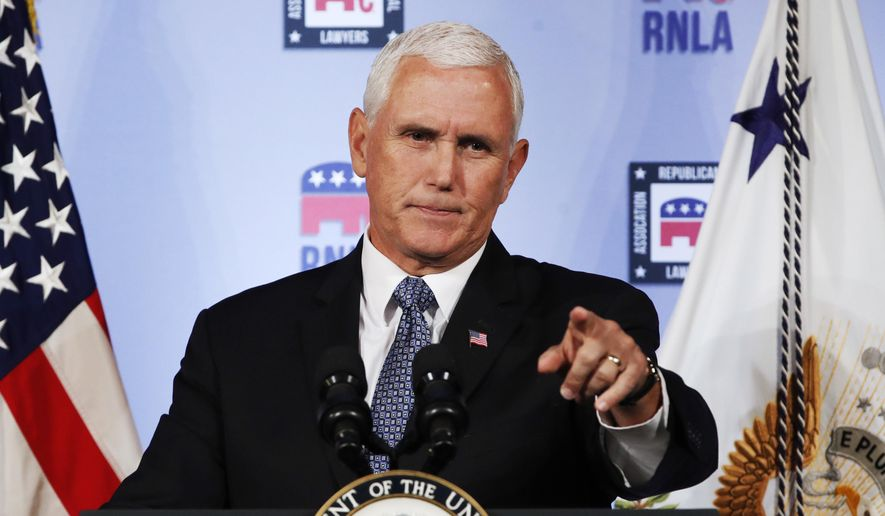 """Vice President Mike Pence said, """"Anyone who would write an anonymous editorial smearing this president, who has provided extraordinary leadership, should not be working for this administration. They ought to do the honorable thing and they ought to resign."""" (Associated Press)"""