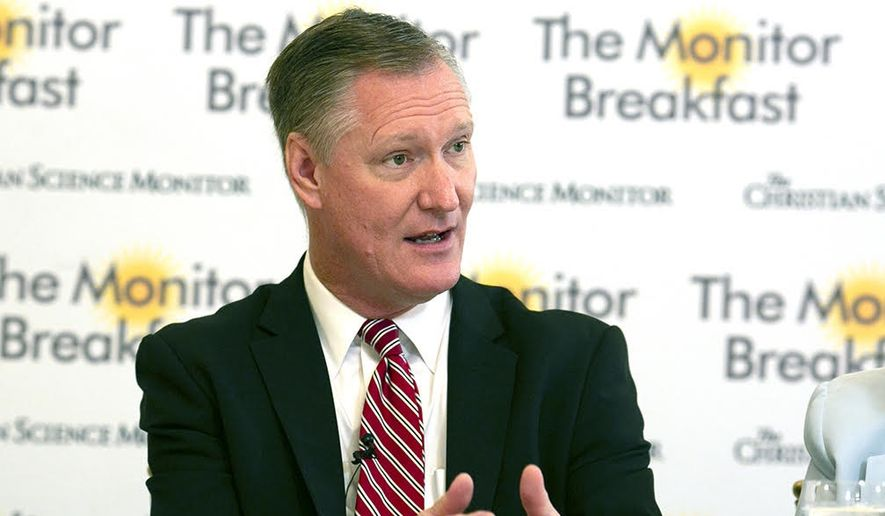 Rep. Steve Stivers, Ohio Republican, speaks at a breakfast meeting in Washington, D.C., hosted by The Christian Science Monitor on Friday, Sept. 7, 2018. (Photo courtesy of Michael Bonfigli/The Christian Science Monitor)