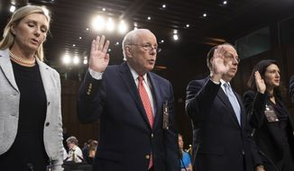 A panel of experts and character witnesses is sworn in before the Senate Judiciary Committee during the final stage of the confirmation hearing for President Donald Trump's Supreme Court nominee, Brett Kavanaugh, on Capitol Hill in Washington, Friday, Sept. 7, 2018. From left are, real estate agent Monica Mastal, John Dean, former counsel to President Richard M. Nixon, Paul Clement, former solicitor general. (AP Photo/J. Scott Applewhite)